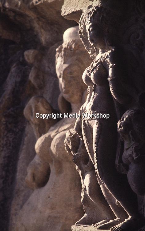 Temple sculpture of female deities.