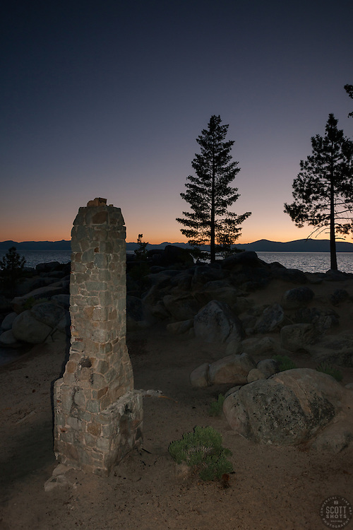 """Chimney Beach at Sunset"" - Photograph at sunset of the chimney at Chimney Beach, Lake Tahoe."