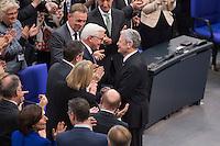 12 FEB 2017, BERLIN/GERMANY:<br /> Frank-Walter Steinmeier (M-L), neu gew&auml;hlter Bundespraesident, und Joachim Gauck (M-R), Bundespraesident a.D., Gratulationen nach Steinmeiers Wahl zum Bundespraesident, 16. Bundesversammlung zur Wahl des Bundespraesidenten, Reichstagsgebaeude, Deutscher Bundestag<br /> IMAGE: 20170212-02-123<br /> KEYWORDS; Bundespraesidentenwahl, Bundespr&auml;sidetenwahl, gratuliert, Blumen,