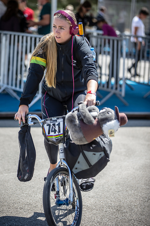 Women Elite #741 (LOCKWOOD Erin) AUS arriving on race day at the 2018 UCI BMX World Championships in Baku, Azerbaijan.