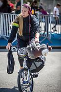 Women Elite #741 (LOCKWOOD Erin) AUS arriving on race day at the 2018 UCI BMX World Championships in Baku, Azerbaijan.