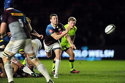 Charlie Mulchrone of Harlequins passes the ball - Mandatory byline: Patrick Khachfe/JMP - 07966 386802 - 03/02/2017 - RUGBY UNION - The Twickenham Stoop - London, England - Harlequins v Sale Sharks - Anglo-Welsh Cup.