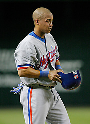 Phoenix, AZ 05-15-04. Montreal Expos' right fielder Terrmel Sledge takes a breather after a triple in the fifth inning to score Tony Batista. sledge had 3 hits on the night including a home run. Montreal won 5-0. Ross Mason photo