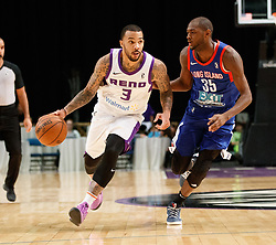 November 19, 2017 - Reno, Nevada, U.S - Reno Bighorns Guard MARCUS WILLIAMS (3) drives against Long Island Nets Guard MILTON DOYLE (35) during the NBA G-League Basketball game between the Reno Bighorns and the Long Island Nets at the Reno Events Center in Reno, Nevada. (Credit Image: © Jeff Mulvihill via ZUMA Wire)
