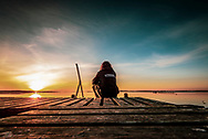 The sun rises over the bay at Atterup in Denmark<br />
