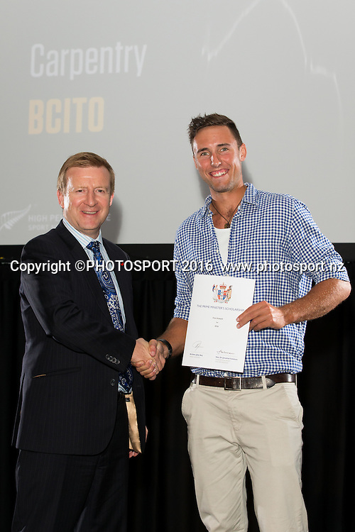 Hon. Jonathan Coleman presents certificate to Rowing Finn Howard at the High Performance Sport NZ Waikato ceremony for the Prime Minister's Scholarship Awards, at Sir Don Rowlands Centre, Lake Karapiro, Cambridge, New Zealand, 20 April 2016. Copyright Photo: Stephen Barker / www.photosport.nz