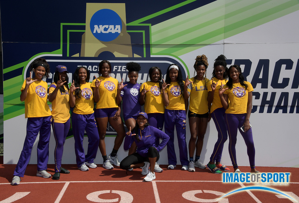 Jun 6, 2018; Eugene, OR, USA; Members of the LSU women's team pose  during the NCAA Track and Field championships at Hayward Field.