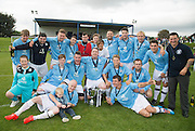 Dundee celebrate with the trophy and organiser Terri Smith - Dundee v Dundee United - fans charity derby at Thomson Park, Lochee in aid Cancer Research UK<br /> <br />  - &copy; David Young - www.davidyoungphoto.co.uk - email: davidyoungphoto@gmail.com