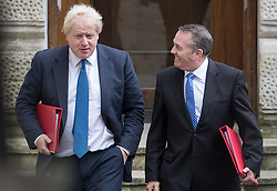 © Licensed to London News Pictures. 10/10/2017. Foreign Secretary Boris Johnson and Trade Secretary Liam Fox attend the weekly cabinet meeting in Downing Street. London, UK. Photo credit: Peter Macdiarmid/LNP