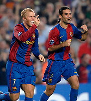Photo: Richard Lane.<br />Barcleona v Chelsea. UEFA Champions League, Group A. 31/10/2006. <br />Barcelona's Eidur Gudjohnsen (rt) celebrates his goal.