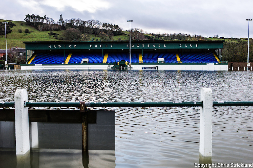 Hawick, Scotland, UK. 6th December 2015. Mansfield Park, the home of Hawick Rugby Club, which has produced many Scottish internationals, underwater after overnight flooding.