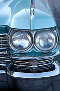 During summer from June to Septemper, every first Friday of the month is Vintage Car Cruising Night. Hundreds of classic American cars cruise around downtown Helsinki and meet at special places to have a good time, here at Kauppatori (Market Square). Cadillac DeVille cabriolet.