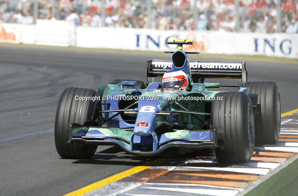 Rubens Barrichello in action for Honda during the Australian Formula 1 Grand Prix at Melbourne, Australia on Sunday 18 March 2007. Photo: Panoramic/PHOTOSPORT #NO AGENTS#<br /> <br /> <br /> 180307 *** Local Caption ***