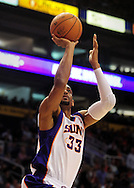 Nov. 3 2010; Phoenix, AZ, USA; Phoenix Suns forward Grant Hill (33) puts up a basket during the first half against San Antonio Spurs at the US Airways Center. The Spurs defeated the Suns 112-110.   Mandatory Credit: Jennifer Stewart-US PRESSWIRE.