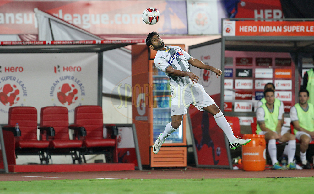 Mohammed Rafi Madambillath of Atletico de Kolkata in action during match 44 of the Hero Indian Super League between FC Pune City and Atletico de Kolkata FC held at the Shree Shiv Chhatrapati Sports Complex Stadium, Pune, India on the 29th November 2014.<br /> <br /> Photo by:  Vipin Pawar/ ISL/ SPORTZPICS