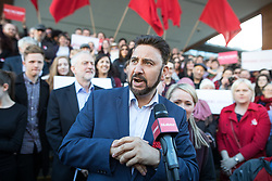 © Licensed to London News Pictures . 05/05/2017. Manchester, UK.  AFZAL KHAN speaks in Manchester following Andy Burnham's victory in the Manchester Metro mayoralty campaign , for a Momentum Rally on the steps of the Manchester Convention Centre . Andy Burnham did not attend . Photo credit: Joel Goodman/LNP