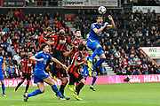 Vicente Iborra (21) of Leicester City leaps above the Bournemouth defence to head the ball during the Premier League match between Bournemouth and Leicester City at the Vitality Stadium, Bournemouth, England on 30 September 2017. Photo by Graham Hunt.