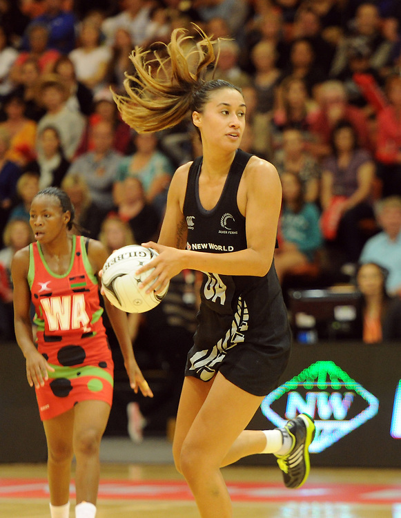 New Zealands' Maria Tutaia against Malawi in the International Netball test at Pettigrew Green Arena, Napier, New Zealand, Sunday, October 27, 2013. Credit:SNPA / Ross Setford