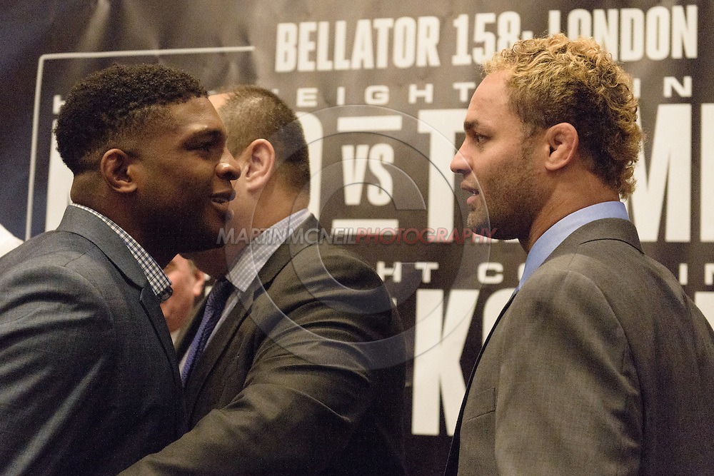 "LONDON, ENGLAND, APRIL 18, 2016: Paul Daley (L) is held back by Bellator CEO Scott Coker (C) whilst facing off against opponent Josh Koscheck (R) during the event announcement press conference for ""Bellator 158: Slice vs. Thompson"" inside the Four Seasons Hotel in Park Lane, London (© Martin McNeil)"