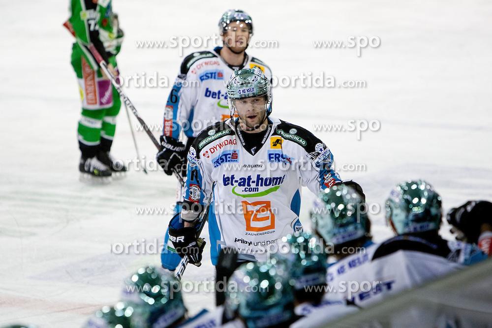 Team EHC Liwest Linz celebrate during ice-hockey match between HDD Tilia Olimpija and EHC Liwest Black Wings Linz in 51st Round of EBEL league, on Februar 5, 2012 at Hala Tivoli, Ljubljana, Slovenia. (Photo By Matic Klansek Velej / Sportida)