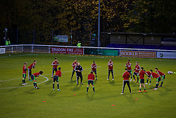 BANGOR, WALES - Tuesday, November 15, 2016: Wales players warm-up before the UEFA European Under-19 Championship Qualifying Round Group 6 match against Luxembourg at the Nantporth Stadium. (Pic by David Rawcliffe/Propaganda)