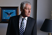 Former US senator for Nebraska and US defense secretary (2013-2015) Chuck Hagel at his Gallup office in Washington DC