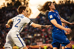 September 2, 2017 - Tampere, Finland - Finland's Albin Granlund and Iceland's Birkir Bjarnason during the FIFA World Cup 2018 Group I football qualification match between Finland and Iceland in Tampere, Finland, on September 2, 2017. (Credit Image: © Antti Yrjonen/NurPhoto via ZUMA Press)