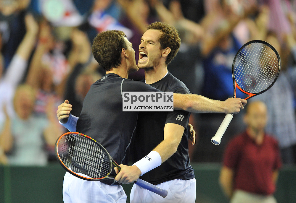 Delight as the Murray brothers win the doubles rubber between Great Britain v Australia, Semi Finals,  Aegeon Davis Cup by BNP Paribas, Saturday 19 September 2015 (c) Angie Isac | SportPix.org.uk