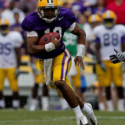 April 2009: LSU Tigers quarterback Russell Shepard (10) runs with the ball during the 2009 LSU spring football game at Tiger Stadium in Baton Rouge, LA.