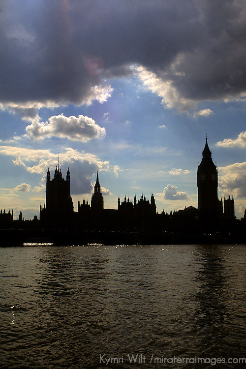 United Kingdom, Great Britain; England; London. Big Ben and the Houses of Parliament silouetted against a London sky.