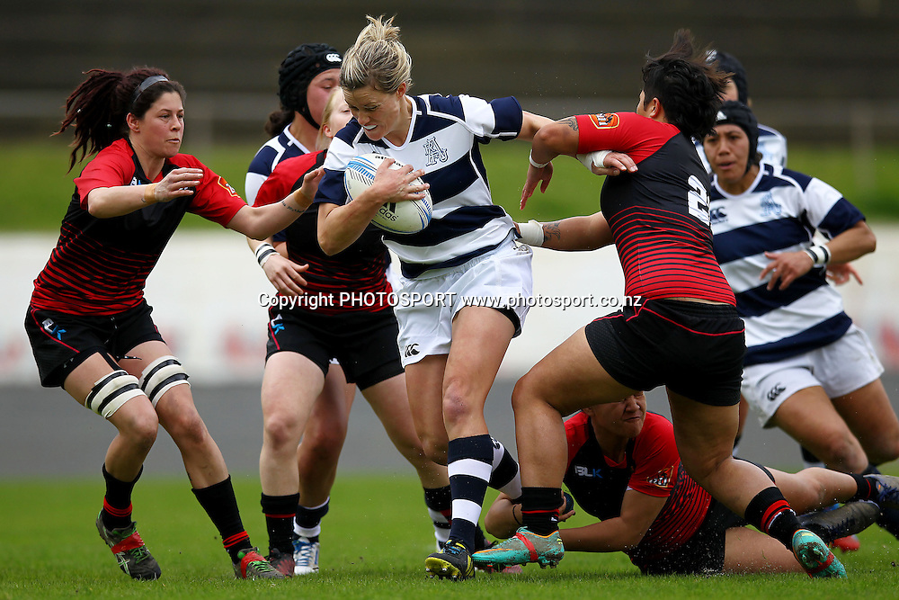 Auckland's Claire Richardson on the charge. 2013 Women's Provincial Championship, Auckland Storm v Canterbury at Western Springs,  Auckland, New Zealand. Saturday 7th September 2013. Photo: Anthony Au-Yeung / photosport.co.nz
