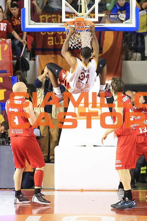 DESCRIZIONE : Roma Lega A 2012-2013 Acea Roma Trenkwalder Reggio Emilia playoff quarti di finale gara 7<br /> GIOCATORE : Lawal Gani<br /> CATEGORIA : schiacciata controcampo<br /> SQUADRA : Acea Roma<br /> EVENTO : Campionato Lega A 2012-2013 playoff quarti di finale gara 7<br /> GARA : Acea Roma Trenkwalder Reggio Emilia<br /> DATA : 21/05/2013<br /> SPORT : Pallacanestro <br /> AUTORE : Agenzia Ciamillo-Castoria/M.Simoni<br /> Galleria : Lega Basket A 2012-2013  <br /> Fotonotizia : Roma Lega A 2012-2013 Acea Roma Trenkwalder Reggio Emilia playoff quarti di finale gara 7<br /> Predefinita :