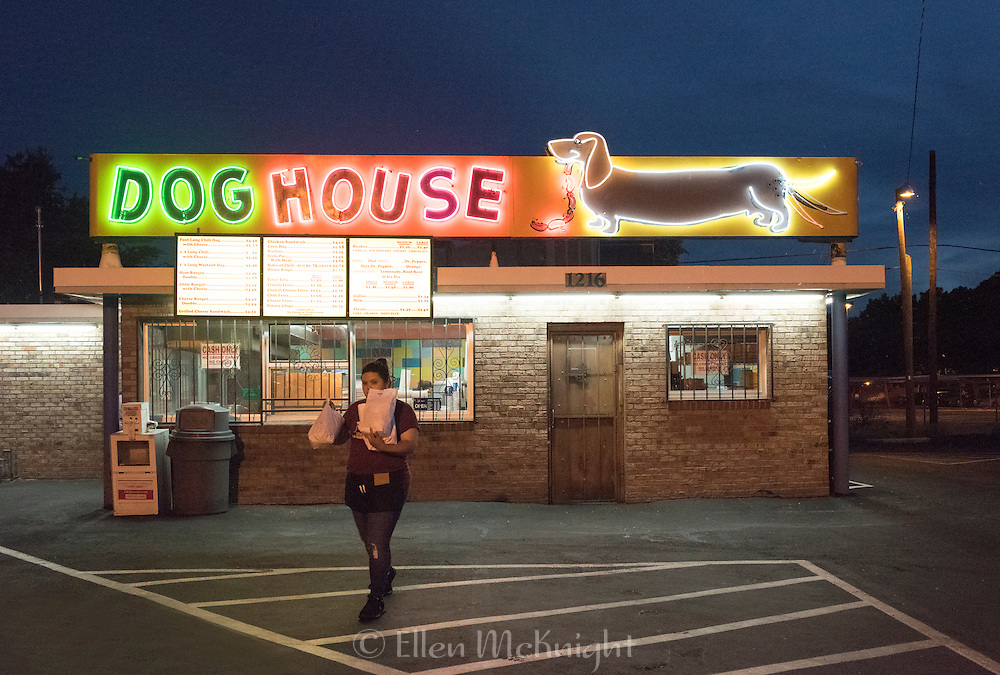The Dog House neon sign on Central Avenue (Route 66) in Albuquerque, New Mexico