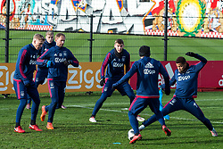 (L-R) Rasmus Kristensen of Ajax, Donny van de Beek of Ajax, Siem de Jong of Ajax, Maximilian Wöber of Ajax, Lasse Schone of Ajax, David Neres of Ajax during the trainings session of Ajax Amsterdam at the Toekomst on January 30, 2018 in Amsterdam, The Netherlands