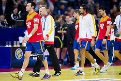 Dissappointed players of Spain after the handball match between Croatia and Spain for 3rd place game at 10th EHF European Handball Championship Serbia 2012, on January 29, 2012 in Beogradska Arena, Belgrade, Serbia.  Croatia defeated Spain 31-27 and won 3rd place. (Photo By Vid Ponikvar / Sportida.com)