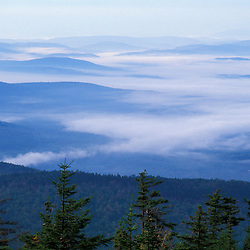 Fog in the valleys as seen from Puzzle Mountain on the new Grafton Loop Trail, a 42-mile loop that connects with the Appalachian Trail near Maine's Grafton Notch State Park.