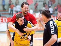Bostjan Kavas, Aljosa Stefanic and Ivica Obrvan of Gorenje at handball match of MIK 1st Men league between RD Slovan and RK Gorenje Velenje, on May 16, 2009, in Arena Kodeljevo, Ljubljana, Slovenia. Gorenje won 27:26. (Photo by Vid Ponikvar / Sportida)