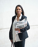 The Andrew Marr Show <br /> at the BBC, Broadcasting House, London, Great Britain <br /> 9th September 2018 <br /> <br /> Gina Miller<br /> businesswoman and campaigner<br /> Arrives at the BBC to read the papers on the Marr Show <br /> <br /> <br /> Photograph by Elliott Franks