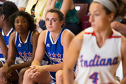 Kentucky Girls All-Star Erin Boley watches dos of the game from the bench after pulling a muscle in the first half. The Kentucky vs. Indiana All-Star Classic was held, Sunday, June 12, 2016 at Knights Hall in Louisville.