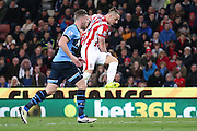 Stoke City forward Marko Arnautovic (10)  with a shot  during the Barclays Premier League match between Stoke City and Tottenham Hotspur at the Britannia Stadium, Stoke-on-Trent, England on 18 April 2016. Photo by Simon Davies.