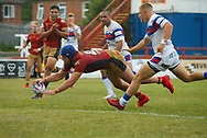 Benjamin Jullien of Catalans Dragons dives over to score the try against Wakefield Trinity during the Betfred Super League match at the Mobile Rocket Stadium, Wakefield<br /> Picture by Stephen Gaunt/Focus Images Ltd +447904 833202<br /> 07/07/2018