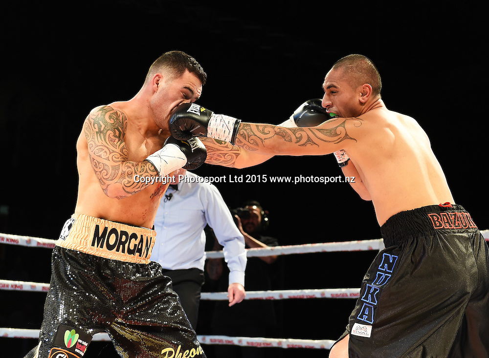 Bowyn Morgan v Nuka Gemmell at The Burger King Road to the Title by Duco Boxing at ILT Stadium Southland in Invercargill, New Zealand. Saturday 1 August 2015. Copyright photo: Andrew Cornaga / www.photosport.nz