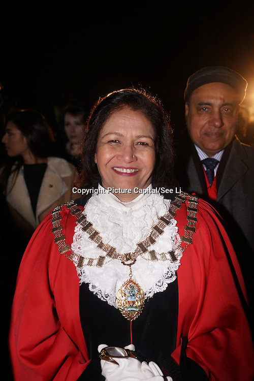 London,England,UK: 18th January 2016: Lady Mayores attends the 'Magical Lantern Festival' VIP Night with an all-new show transforming historic Chiswick House Gardens into a fairytale world of light sculptures, Chinese arts, Virtual Reality, games & food with a funfair and 600 square metres ice rink at Chiswick House Gardens  from January 19th - February 26th. by See Li