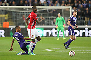 Anderlecht Midfielder Youri Tielemans tackles Paul Pogba Midfielder of Manchester United during the UEFA Europa League Quarter-final, Game 1 match between Anderlecht and Manchester United at Constant Vanden Stock Stadium, Anderlecht, Belgium on 13 April 2017. Photo by Phil Duncan.