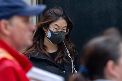 © Licensed to London News Pictures. 09/03/2020. Oxford, UK. A young woman wears a black face mask in central Oxford as the COVID-19 coronavirus continues to spread across the United Kingdom. Photo credit: Peter Manning/LNP
