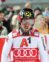 "29.01.2019, Planai, Schladming, AUT, FIS Weltcup Ski Alpin, Slalom, Herren, 2. Lauf, im Bild Marcel Hirscher (AUT) // Marcel Hirscher of Austria reacts after his 2nd run of men's Slalom ""the Nightrace"" of FIS ski alpine world cup at the Planai in Schladming, Austria on 2019/01/29. EXPA Pictures © 2019, PhotoCredit: EXPA/ Martin Huber"