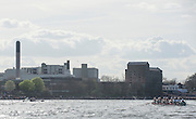 London, Great Britain, The Old and the New, as both crews approach Mortlake Brewery, the Old Malting's house on the right., the modern brew factory on the left. The Newton Women's Boat Race, Men's Race , Championship Course.  River Thames. Putney to Mortlake. ENGLAND. <br /> <br /> 17:07:34  Saturday  11/04/2015<br /> <br /> [Mandatory Credit; Peter Spurrier/Intersport-images]