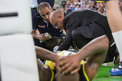 Bo McCalebb of Fenerbahce Ulker hurts his ankle during basketball match between KK Union Olimpija and Fenerbahce Ulker Istanbul (TUR)  in 2nd Round of Regular season of Euroleague 2012/13 on October 19, 2012 in Arena Stozice, Ljubljana, Slovenia. (Photo By Vid Ponikvar / Sportida)