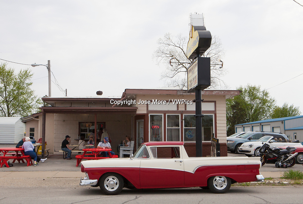 A 1957 Ford Ranchero truck in Lexington, Illinois on historic U.S. Route 66. The Mother Road starts in Chicago traveling through 6 states and ending in Santa Monica, California.