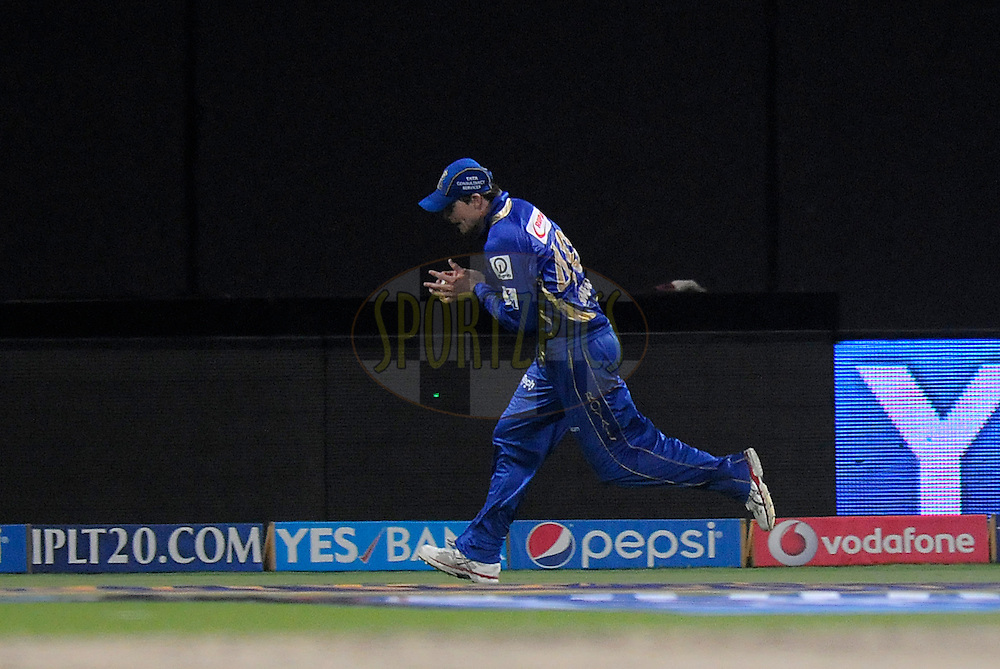 Steven Smith of the Rajatshan Royals takes a catch to get the wicket of Jacques Kallis of the Kolkata Knight Riders during match 19 of the Pepsi Indian Premier League 2014 Season between The Kolkata Knight Riders and the Rajasthan Royals held at the Sheikh Zayed Stadium, Abu Dhabi, United Arab Emirates on the 29th April 2014<br /> <br /> Photo by Pal Pillai / IPL / SPORTZPICS